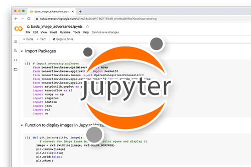 Screenshot of PyImageSearch Plus and Google Colab Notebook with Jupyter logo overlaid